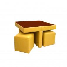 მაგიდა 4 პუფით ტყავის შემცვლელი (ყვითელი)